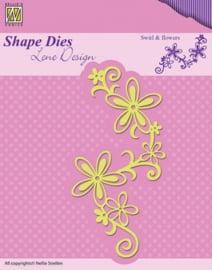 Shape Dies - Lene Design - Nellie Swirl & flowers SDL028