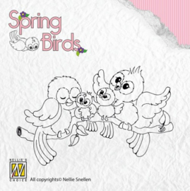 Nellie Clear stamps Spring-birds Happy Family SPB001
