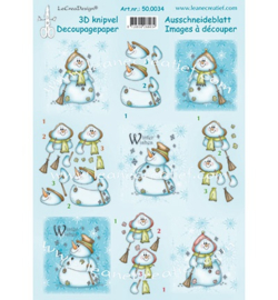 3d knipvel Leane Snowman Winter wishes 50.0034