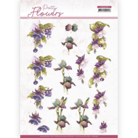 3D cutting sheet - Precious Marieke - Pretty Flowers - Purple Flowers CD11579