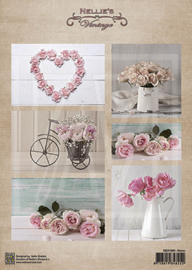 Vintage decoupage sheets Wedding roses NEVI080