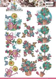 3D cutting sheet - Yvonne Creations - Kitschy Lala - Kitschy Flower Pots CD11438