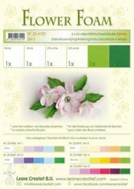 LeCrea - Flower Foam assort. 6, 6 vel A4 wit groen 25.4100 0.8mm
