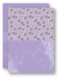 Doublesided background sheets A4 purple roses NEVA023