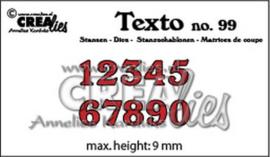 Crealies Texto Stansen cijfers klein CLTX99 max. height: 9 mm 115634/3001