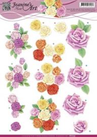 3D Knipvel - Jeanines Art - Roze rozen CD10753