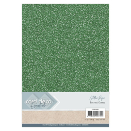 Card Deco Essentials Glitter Paper Forrest Green CDEGP005