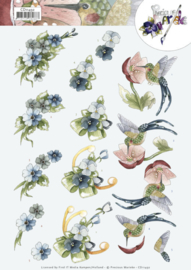 3D Cutting Sheet - Precious Marieke - Blue Flowers CD11492