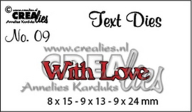 Crealies tekststans (Eng) nr. 9 With Love 8x15 - 9x13 - 9x24 mm / CLTD09 115634/3309