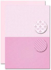 Decoupage sheet - Doublesided - Pink - Babyboy-hearts NEVA082