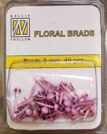 40st Floral Glitter Brads 3 mm pink FLP-GB 003