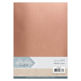 Card Deco Essentials - Metallic Linnenkarton - Metallic Copper  CDEML003