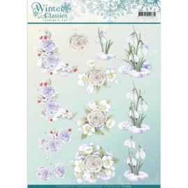 3D Knipvel - Jeanine's Art - winter classics- Snow flowers CD10969