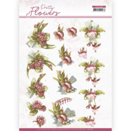 3D cutting sheet - Precious Marieke - Pretty Flowers - Red Flowers CD11580