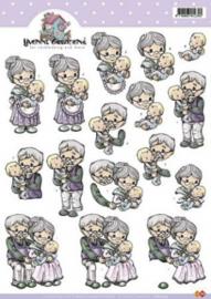 3D A4 Knipvel Yvonne Opa en oma met baby - CD10224