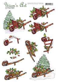 3D Cutting Sheet - Yvon's Art - Christmas Wheelbarrow CD11696