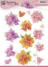 3D Knipvel - Jeanines Art - Bougain villea - bloemen CD10681