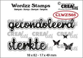 Crealies Clearstamp Wordzz Gecondoleerd sterkte (NL) CLWZS05 18x82mm