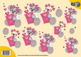 3D A4 knipvel Creddy- Beer met roze kaart CW10030