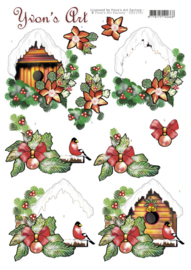3D Cutting Sheet - Yvon's Art - Christmas Bird House CD11701