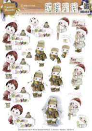 3D Knipvel Precious Marieke - CD10418 Glamorous Christmas - Kids in the snow