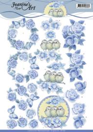 3D knipvel - Jeanine's Art - Blue Roses CD11042