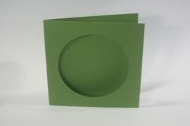 CraftEmotions linnen kaart passepartout rond 1st mosgroen 13,5x13,5cm 250gr  - 001238/1010