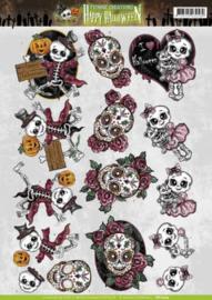 3D Knipvel - Yvonne Creations - Happy Halloween - Happy Skeletons CD10774