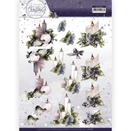 3D Cutting Sheet - Precious Marieke - The Best Christmas Ever - Pink Candles CD11680
