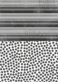 Doublesided background sheets A4 black flowers NEVA020