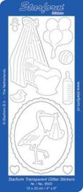 Staform 9500 Baby Crib/ Stork Transparant Glitter goud