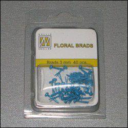 40st Floral Glitter Brads 3 mm blue