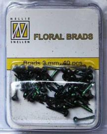 40st Floral Glitter Brads 3 mm black FLP-GB 001