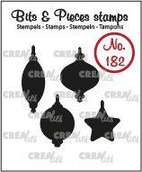 Crealies Clearstamp Bits & Pieces 4x Kerstballen dicht CLBP182 15 x 22 mm 130505/1182
