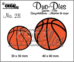 Crealies Duo Dies no. 28 basketballen 30x30mm-40x40mm / CLDD28 115634/0728