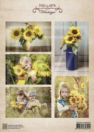 Vintage decoupage sheets sunflowers NEVI079