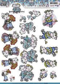 3D Knipvel Yvonne Creations - CD10387 Vakantiekoetjes
