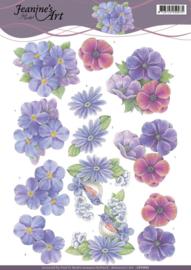 3D Knipvel - Jeanines Art - Purple Flowers CD11092