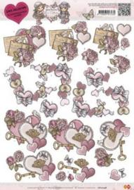3D Knipvel - CD10248 - Yvonne Creations - Vintage heart