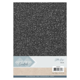 Card Deco Essentials Glitter Paper Black CDEGP021