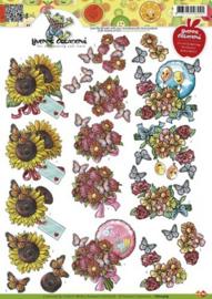3D Knipvel Yvonne Creations - CD10369 Beterschap Bloemen