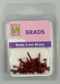 40st Floral Brads 3 mm FLP-BR-005 Christmas red