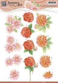 3D Knipvel - Jeanines Art - Rode bloemen CD10686