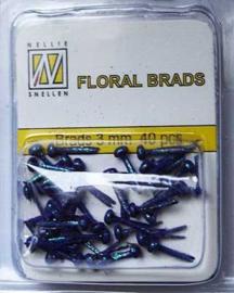 40st Floral Glitter Brads 3 mm purple FLP-GB 008