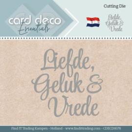 Card Deco Essentials - Dies - Liefde Geluk en Vrede CDECD0078