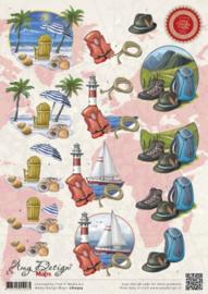 3D Knipvel - Amy Design - Maps - Vakantie CD10503