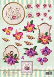 3D Decoupage Sheet Orchids APA3D016