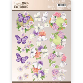 3D Knipvel - Jeanine's Art - Classic Butterflies and Flowers - Purple Flowers  CD11002