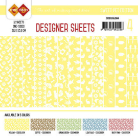 Card Deco - Designer Sheets -Sweet Pet-geel CDDSGL004