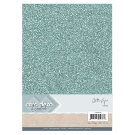 Card Deco Essentials Glitter Paper Mint CDEGP020